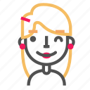 avatar, blond, emoji, emoticon, face, line, wink icon