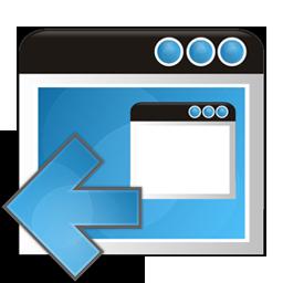 application, arrow, left, window icon
