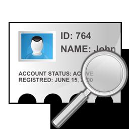 profile, search, zoom icon