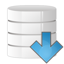 arrow, database, down icon