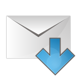 arrow, down, envelope icon