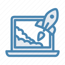 laptop, notebook, project, rocket, start up, startup, takeoff icon