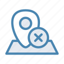 close, cross, geo, location, navigation, pin icon
