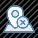 close, cross, geo, location, navigation, pin