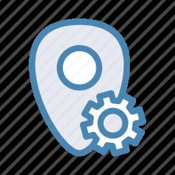 geo, location, navigation, pin, setting, tools icon