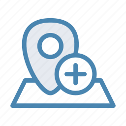 add, geo, location, navigation, new, pin, plus icon