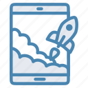 project, rocket, start up, startup, tablet, takeoff icon