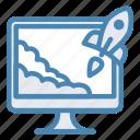 monitor, rocket, startup, landing, project, takeoff, start up