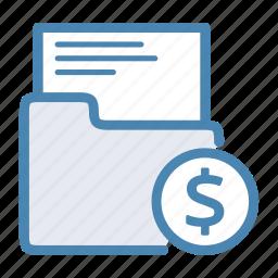 business, cash, dollar, files, finance, folder icon