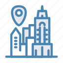 city, geo, location, navigation, new york, pin, town icon