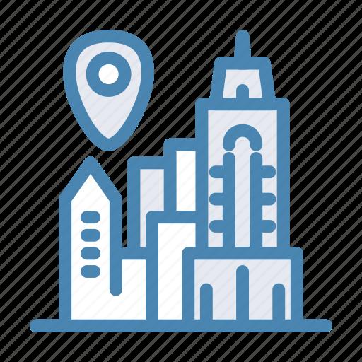 city, geo, location, navigation, new york, pin, town icon