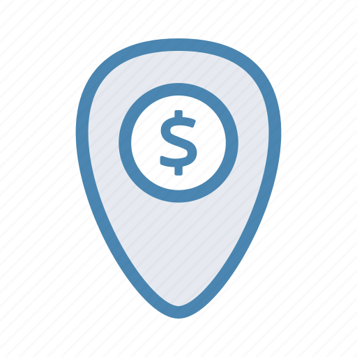dollar, finance, geo, location, navigation, pin icon