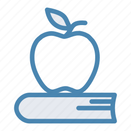 apple, book, break, fruit, lunch, lunch break, textbook icon