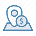 bank, dollar, geo, location, money, navigation, pin icon
