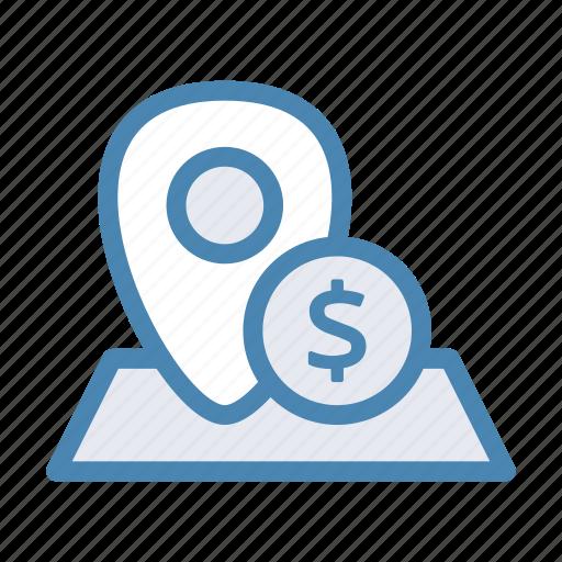 bank, dollar, geo, location, money, navigation, pin icon