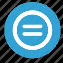 blue, calculator, equally, round icon