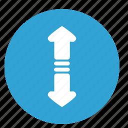 arrows, bottom, down, horizontal, motion, top, up icon