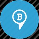 bitcoin, geo, money, pin, pointer, transfer icon