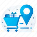 basket, cart, gps, location, map, shopping icon