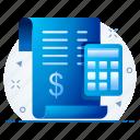 account, bill, calculate, calculator, finance, receipt icon