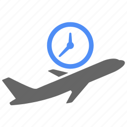 airport, clock, departure, fly, on time, plane, time icon