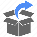 arrow, box, cargo, direction, logistics, shipping icon