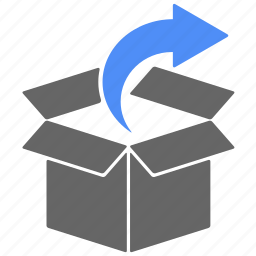 arrow, box, cargo, direction, logistics, shipping icon