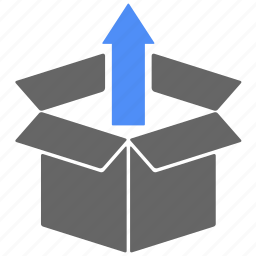 arrow, box, delivery, gift, logistics, shipping, up icon