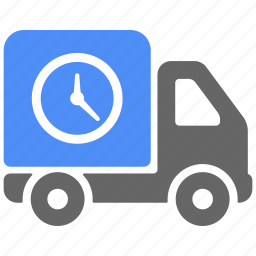 clock, delivery, logistics, on time, shipping, truck, vehicle icon