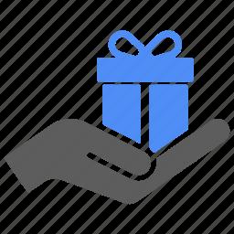 birthday, gift, hand, present, shipping, xmas icon
