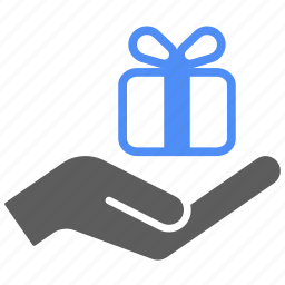 delivery, gift, hand, present, shipping, shopping icon