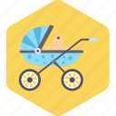 baby, buggy, happy, play, sit, toddler icon