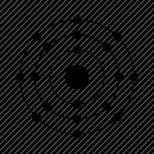 argon, atom, chemistry, electrons, element, nucleus, orbit, periodic table icon