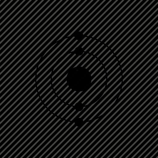 atom, beryllium, chemistry, electrons, element, nucleus, orbit, periodic table icon