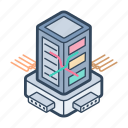 data server, database, datacenter, hosting server, server rack icon