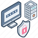 access denied, data protection, data safety, data security, database security icon