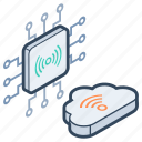 microprocessor, wifi network, wireless connection, wireless network, wireless technology icon