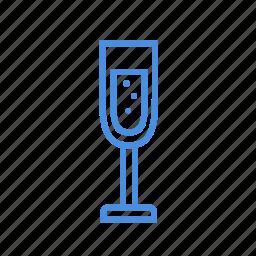 bubbles, champagne, cheers, cold, fizz, glass, vine icon
