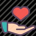 gesture, give, hand, heart, love, valentine, valentines icon