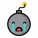 bomb, boom, crying, dynamite, explode, sad, weapon icon