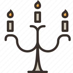 candelabra, candle, halloween, horror, light, party, trick or treat icon