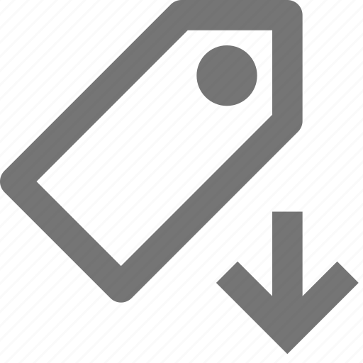 arrow, bookmark, down, download, label, price, save, tag icon