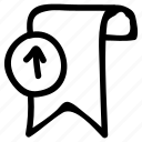 bookamark, favorite, ribbon, tag, upload icon