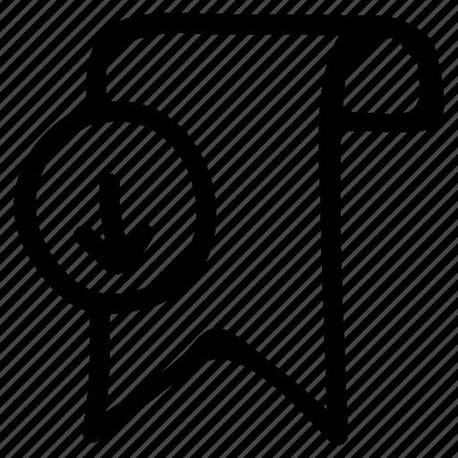 bookmark, download, favorite, ribbon, tag icon