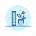 book, book shelf, cactus, library, read, reading, study icon