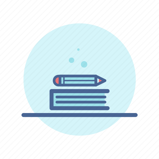 book, book shelf, learning, library, pencil, reading, study icon
