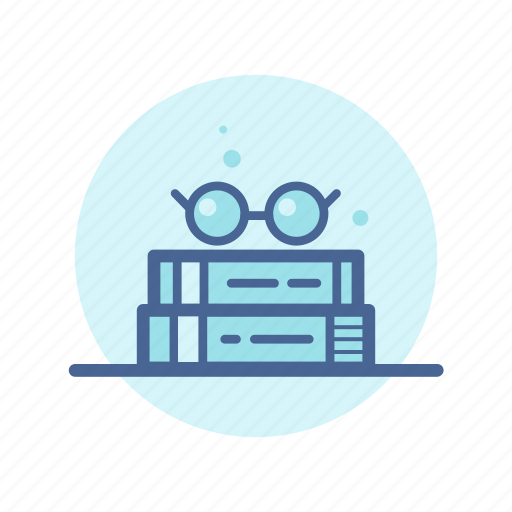 book shelf, books, eyeglasses, learning, library, reading, study icon