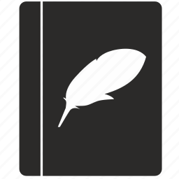 book, feather, literature, poetry icon