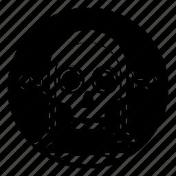 android, bone, bot, clown, droid, robot, skull icon