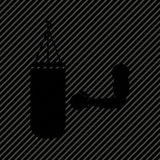arm, box, boxing, part of body, punching bag, training icon